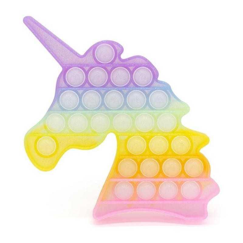 Jucarie senzoriala antistres din silicon, unicorn, multicolor pastel