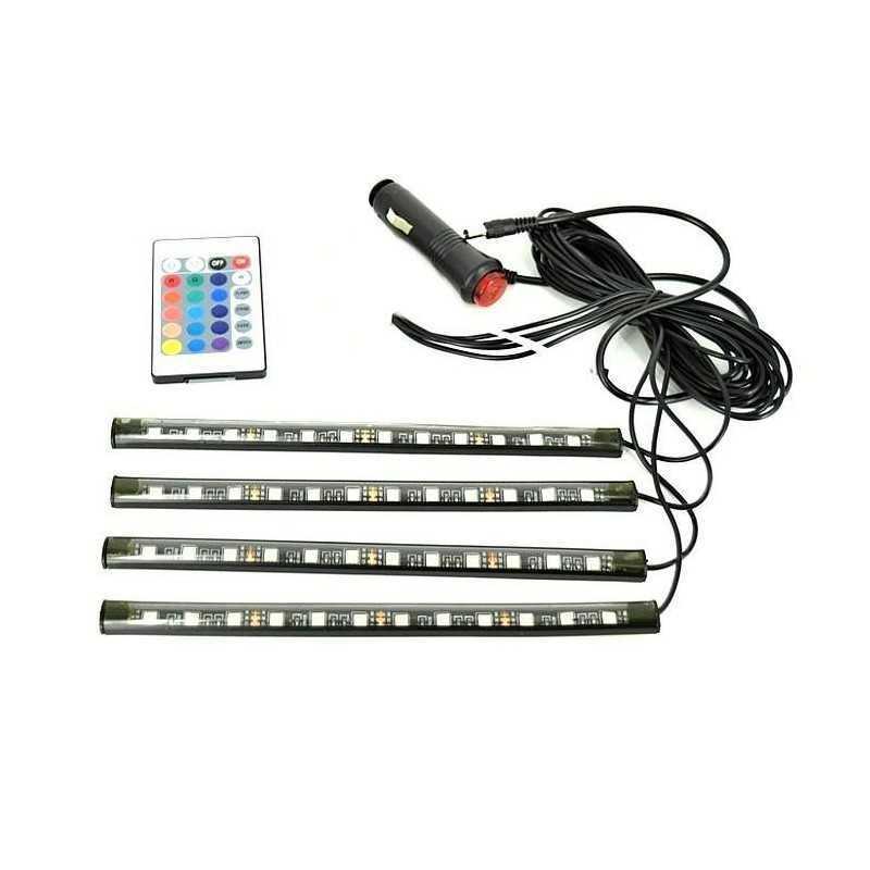 Kit iluminare ambientala led interior masina, 12 LED-uri