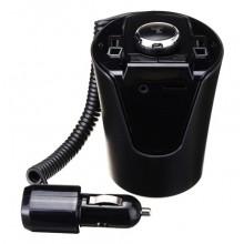 Modulator auto, functie FM, Bluetooth, dual USB, intrare AUX, negru