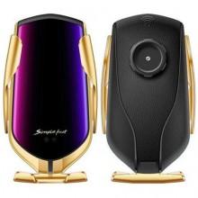 Suport auto cu incarcator wireless, R1, gold