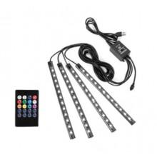 Kit banda LED RGB 4 benzi autoadezive cu telecomanda 12 leduri