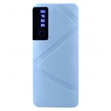 Baterie externa 20000 mAh cu 3 porturi USB si lanterna, albastra