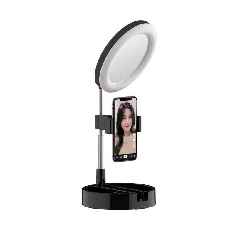 Lampa circulara de machiaj cu oglinda si suport telefon/accesorii, negru