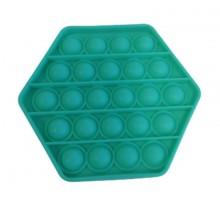 Jucarie senzoriala antistres din silicon, forma hexagon, verde