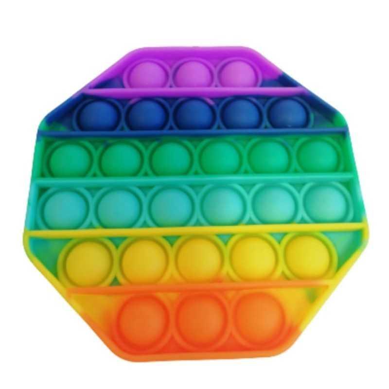 Jucarie senzoriala antistres din silicon, forma octogon, multicolor
